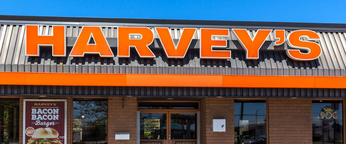 Mississauga, Ontario, Canada - May 13th, 2018: Sign of Harvey's, a fast food restaurant chain that operates in Canada.