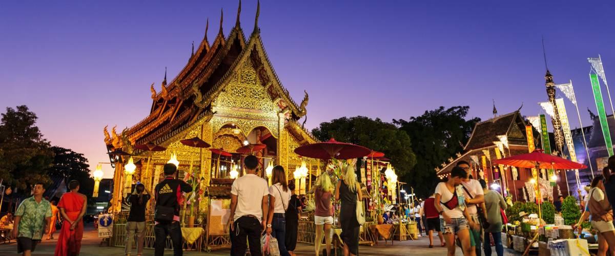 CHIANG MAI THAILAND - NOVEMBER 21 : Srisuphan temple market