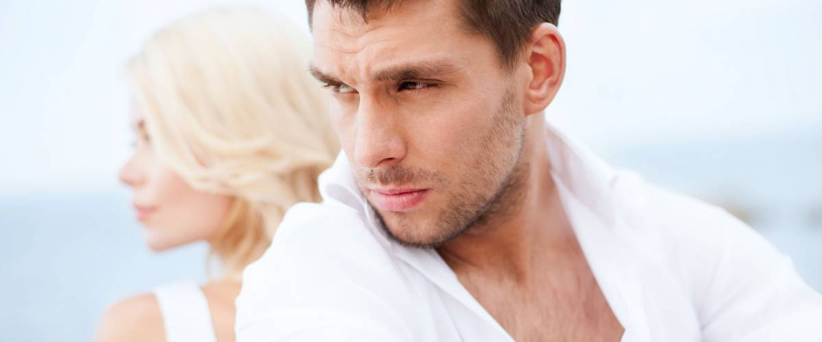 summer holidays, dating and relationships concept - stressed man with woman outside