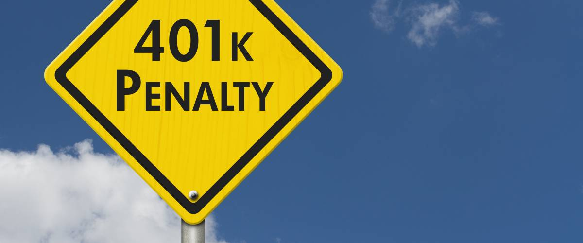401k penalty warning, Yellow and black warning road sign with text 401k penalty with sky background 3D Illustration