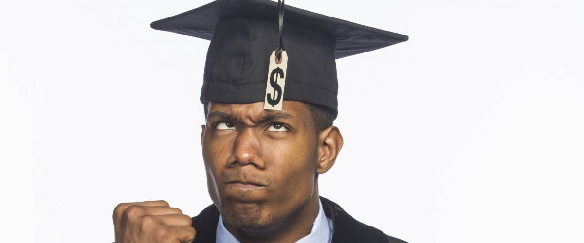 Recent college graduate upset about tuition debt, horizontal