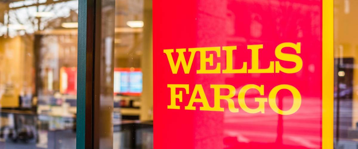 Washington DC, USA - March 4, 2017: Wells Fargo bank entrance with sign