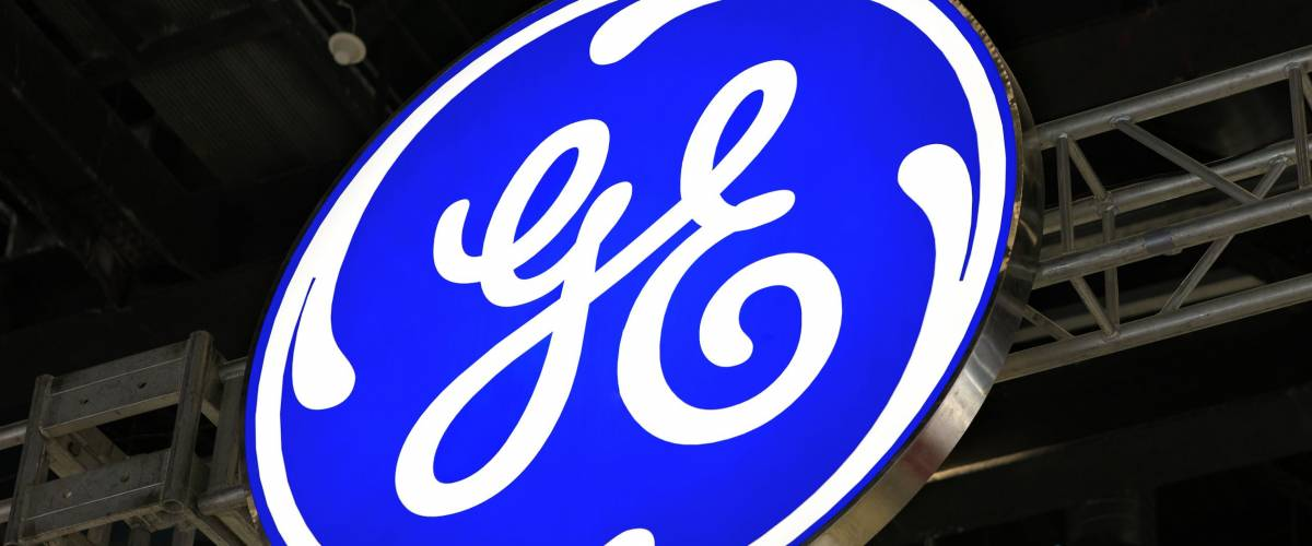 BEIJING, CHINA - MARCH 26, 2016: General Electic brand sign. General Electric (GE), is an American corporation founded in 1892 that serves Worldwide.
