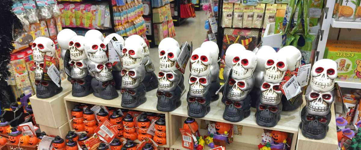 Halloween decorations for sale in a store