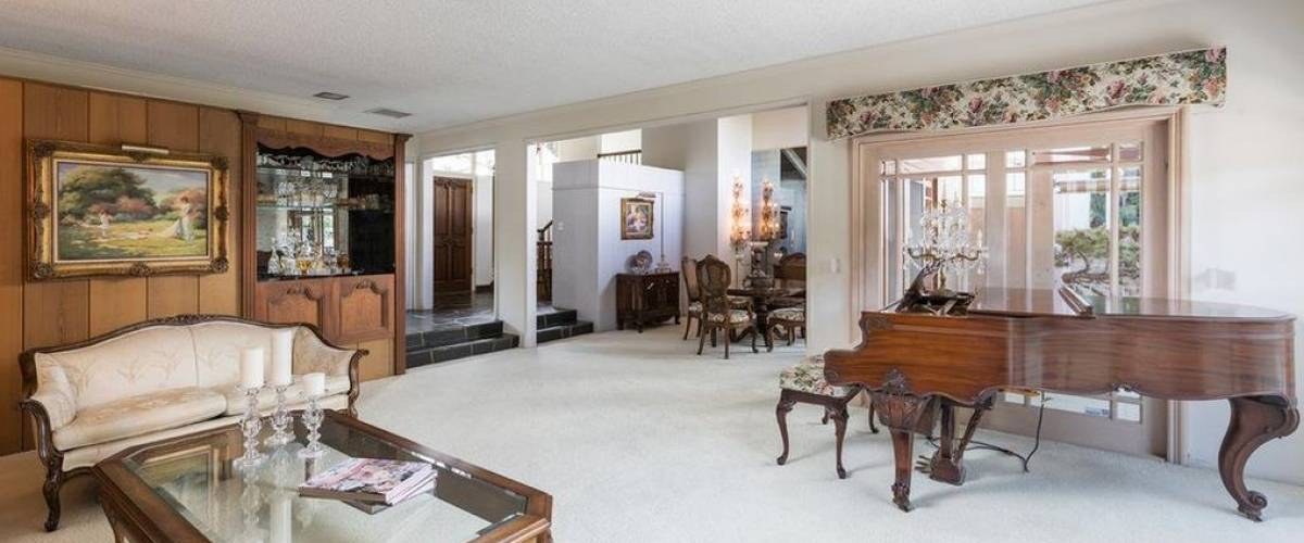 The living room in the home in Studio City, California, that was used as the 'Brady Bunch' house