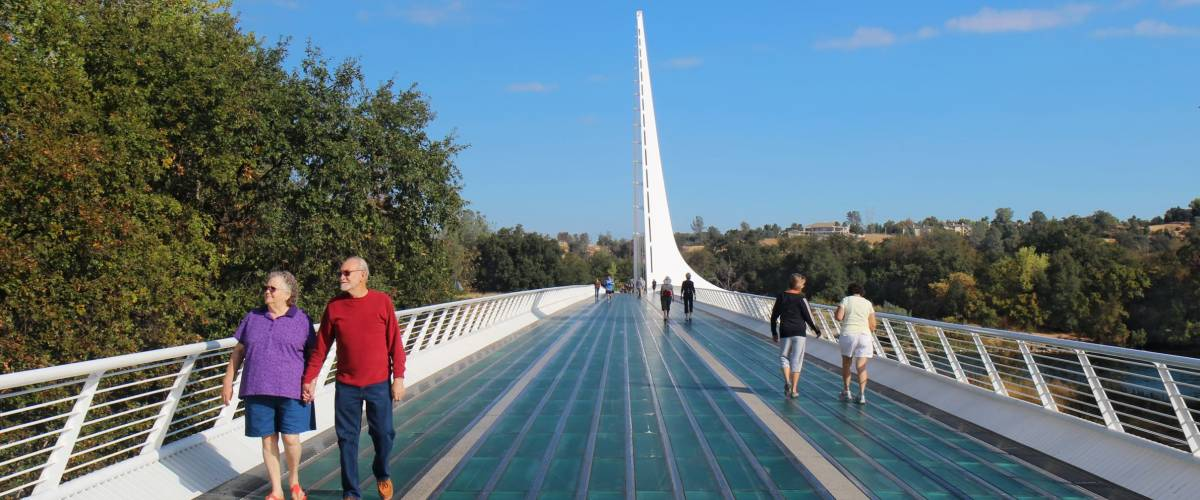 REDDING, CALIFORNIA - OCTOBER 8 2012: Sundial Bridge at Turtle Bay in Redding, California.