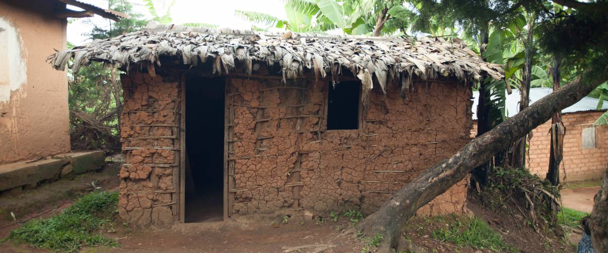The home of the Kabura family in Burundi, who live on $29 a month in this single-bedroom home they built with help from family and friends.