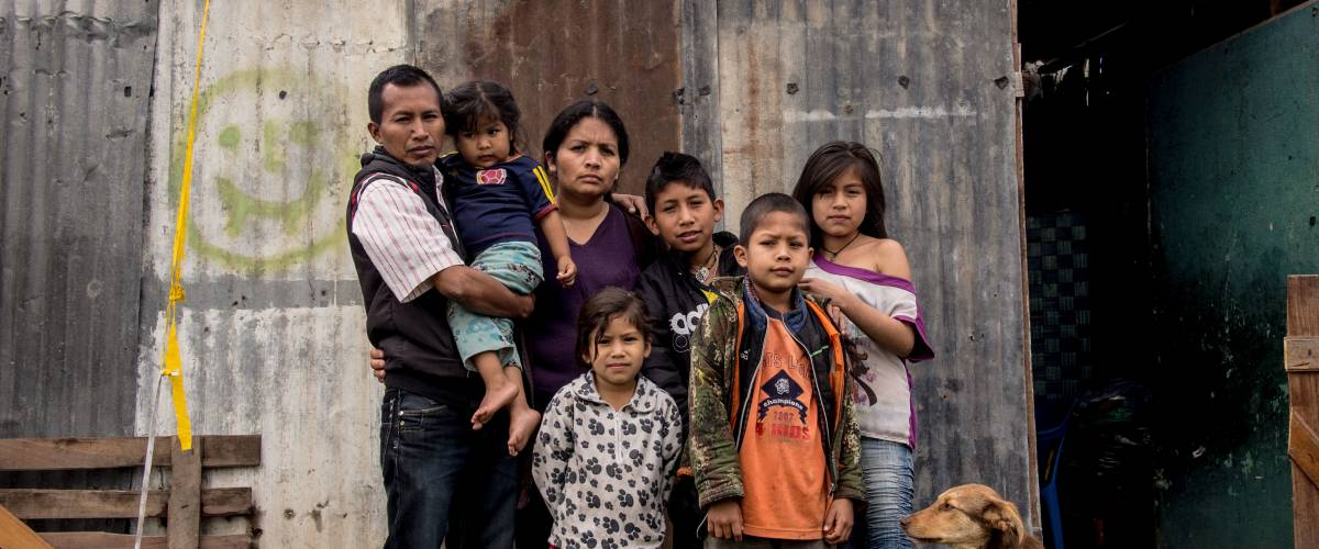 The Iquira Collo family lives in Bogota, Colombia. Their income is $145 a month.