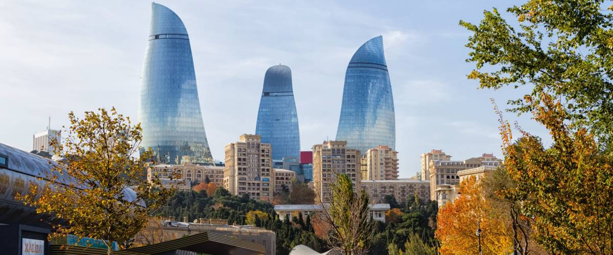 BAKU, AZERBAIJAN - NOVEMBER 14, 2016: View of the city centre of Baku with Flame Tower in the background. Azerbaijan