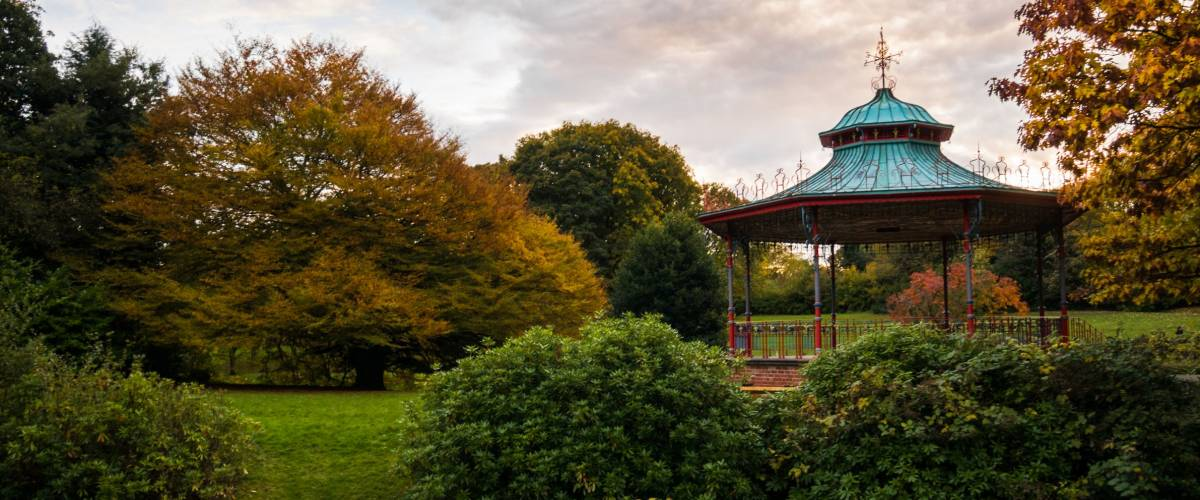 Bandstand in autumn Sefton Park, Liverpool