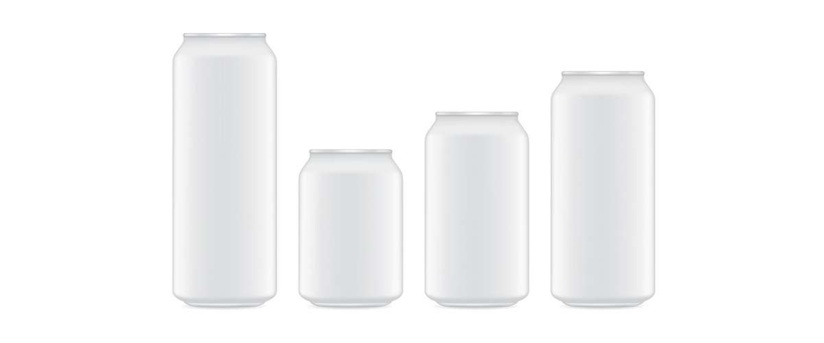 Four different sizes of aluminum soda cans