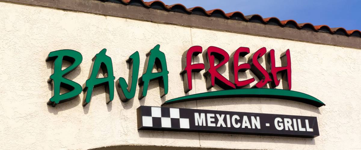 NORTHRIDGE, CA/USA - DECEMBER 19, 2014: Baja Fresh Mexican Grill restaurant exterior. Baja Fresh is a chain of fast-casual Tex Mex restaurants headquartered in Irvine, California.