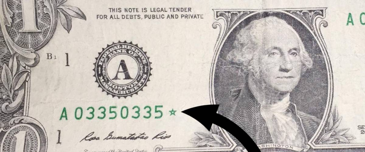 A closeup on the star on a 'star note'