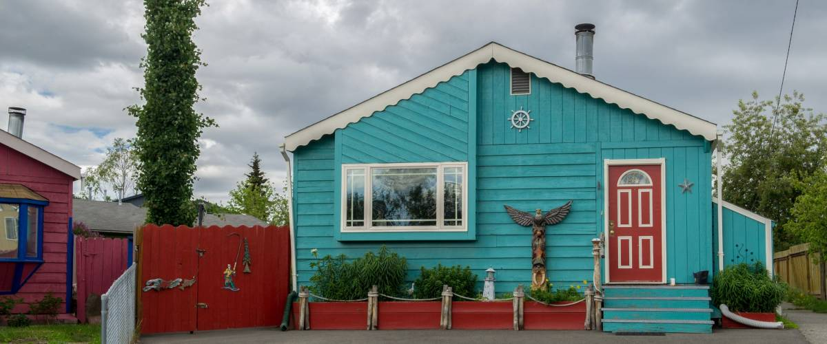 colorful wooden turquoise house in Anchorage, Alaska, USA