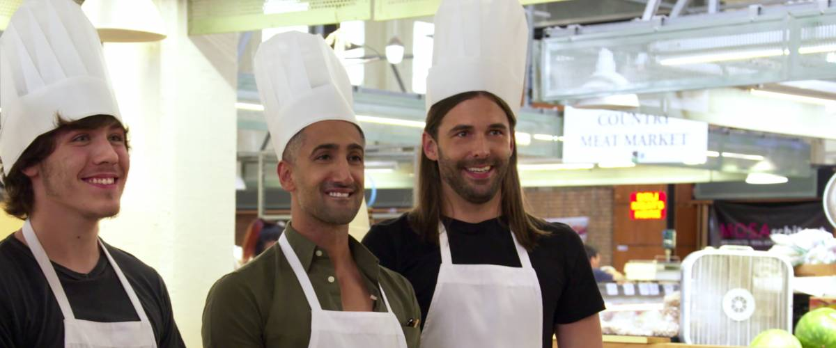 Jonathan Van Ness with Sean Van Meter and Tan France, in Queer Eye Season 2, Episode 7