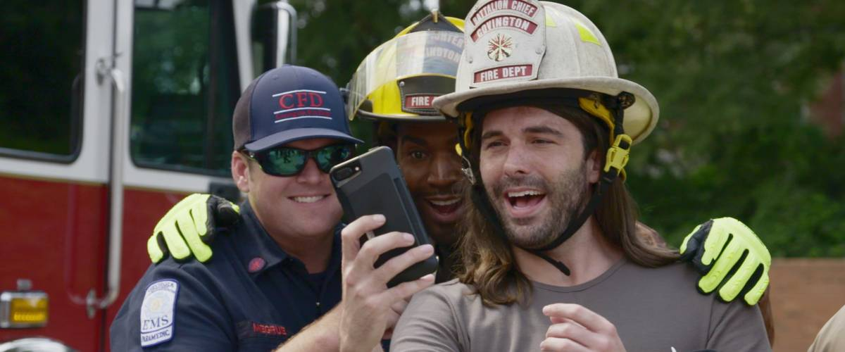 Jonathan Van Ness with Karamo Brown in a scene from Queer Eye Season 1, Episode 8