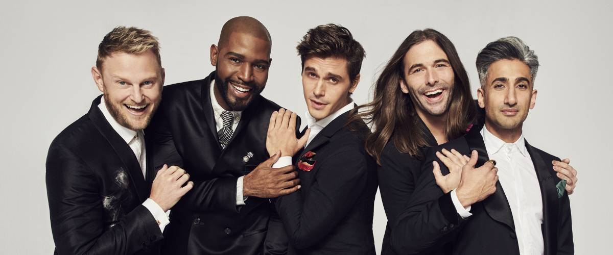 Jonathan Van Ness, second from right, with Queer Eye cast mates Bobby Berk, Karamo Brown, Antoni Porowski and Tan France