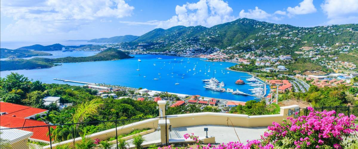 Caribbean, St Thomas US Virgin Islands. Panoramic view.