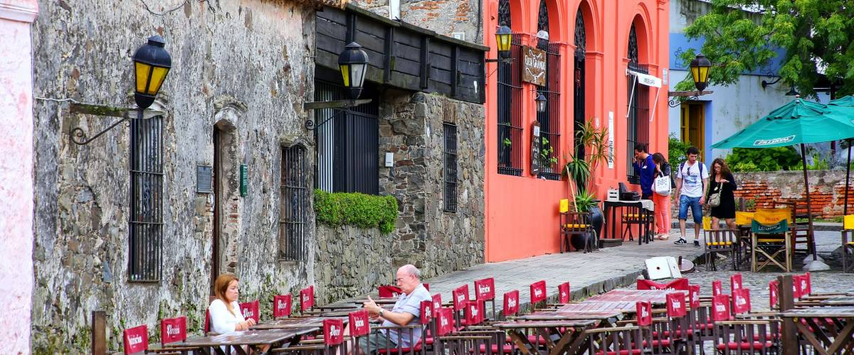 COLONIA, URUGUAY - DECEMBER 7: Street cafe on December 7, 2014 in Colonia del Sacramento, Uruguay. Colonia del Sacramento is one of the oldest towns in Uruguay.