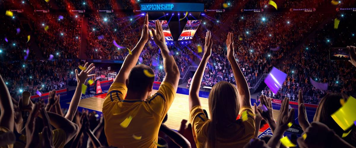 Fans on basketball court in game Confetti and tinsel