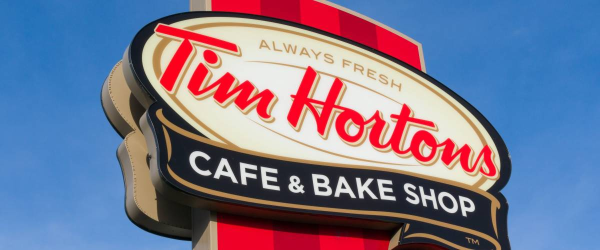 COLUMUBUS, OH/USA - OCTOBER 21, 2017: Tim Hortons restaurant exterior and logo. Tim Hortons Inc. is a Canadian multinational fast food restaurant chain.