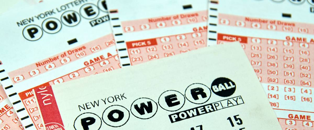 MONTREAL, CANADA - DECEMBER 23, 2016 : Powerball New York lottery tickets.