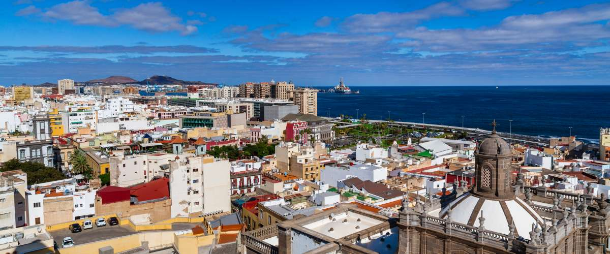 View on colorful buildings structures in the city of Las Palmas