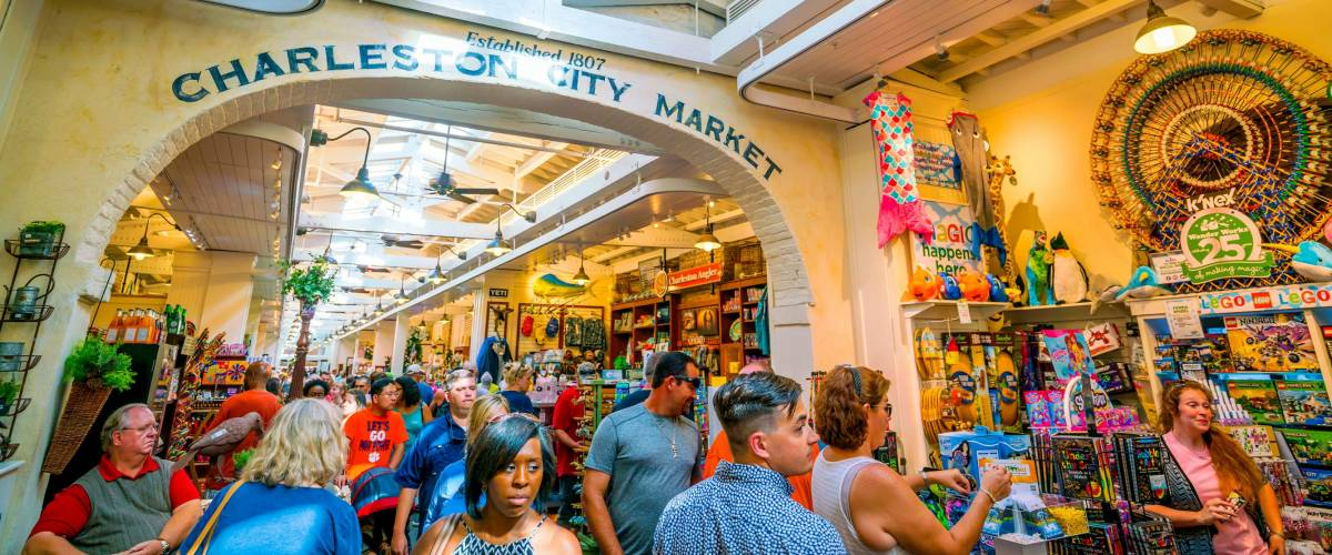 Charleston, South Carolina, USA - SEP 3: The historic Charleston City Market. As one of the nation's oldest public markets, visitors find more than 300 entrepreneurs. on September 3, 2016