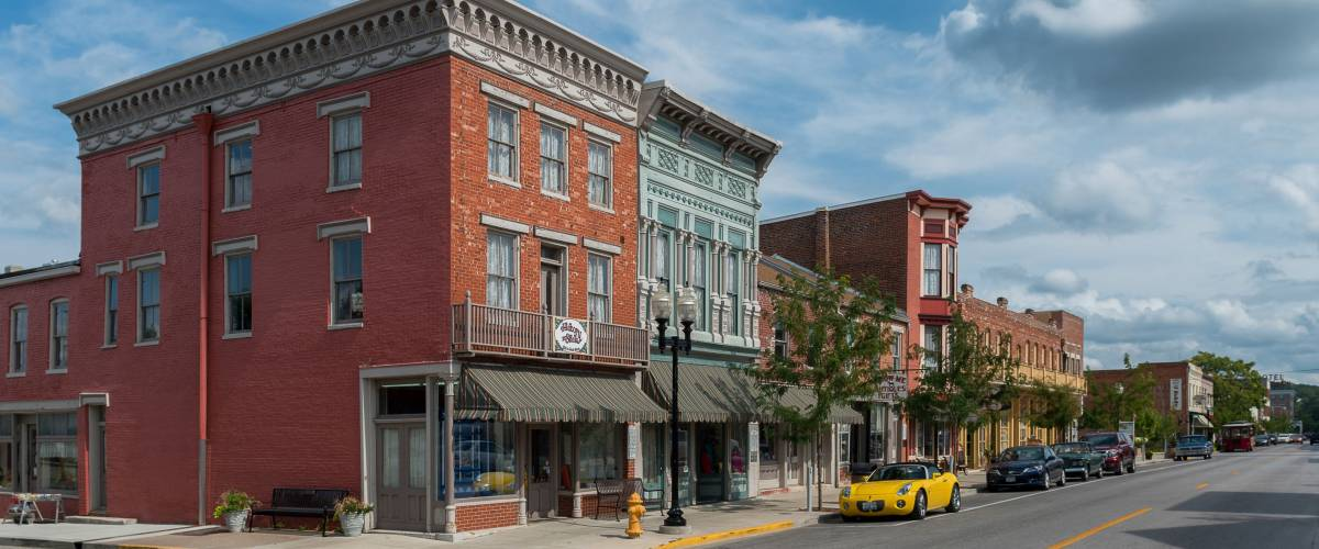 HANNIBAL, MISSOURI - AUGUST 14: North Main Street Historic District on August 14, 2014 in Hannibal, Missouri