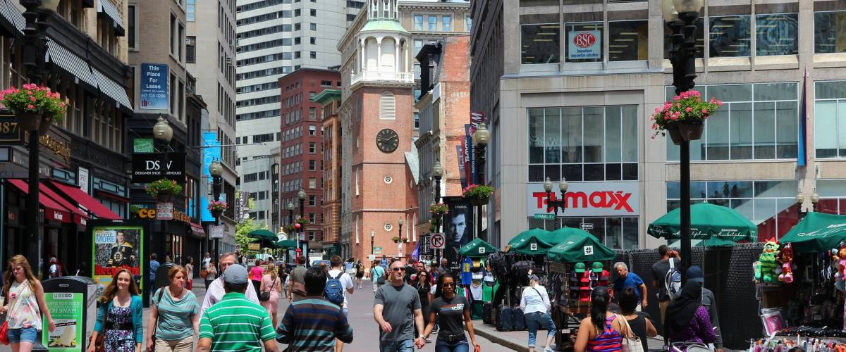 BOSTON - JUNE 9: People walk in pedestrian zone on June 9, 2013 in Boston.