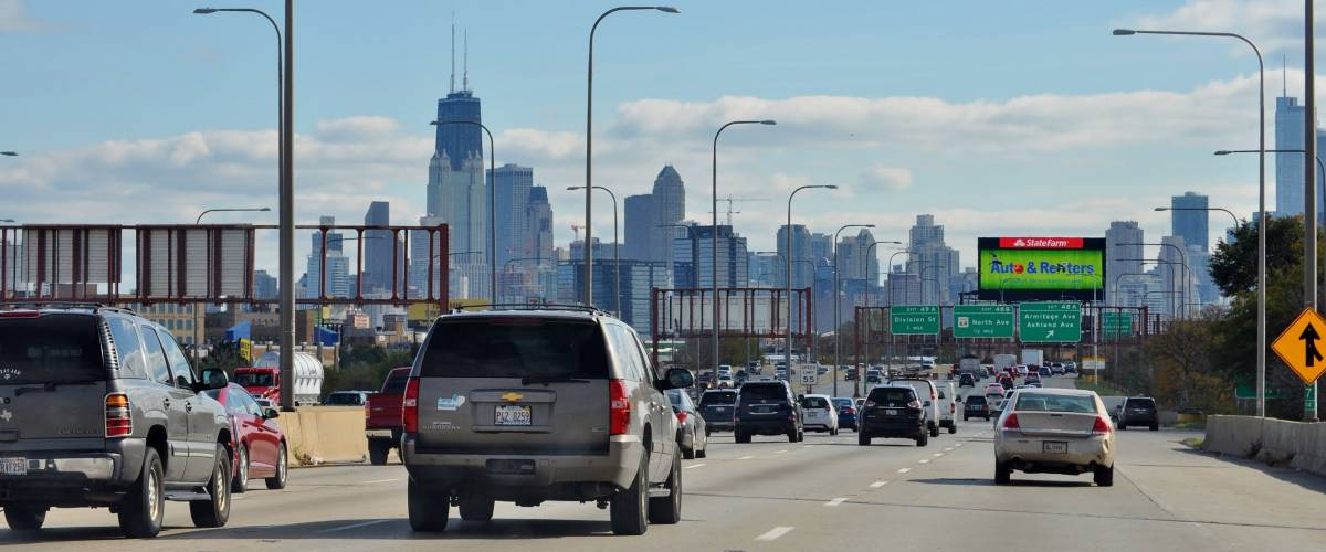 Chicago, IL, USA - October 31, 2017. Driving on the Highway I-90 Kennedy Express to Downtown Chicago.