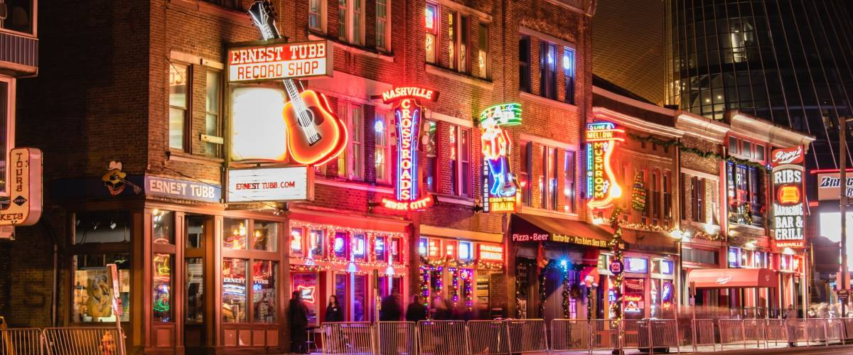 Nashville, Tennessee - December 5, 2017 : Bars and venues line Broadway in downtown Nashville.