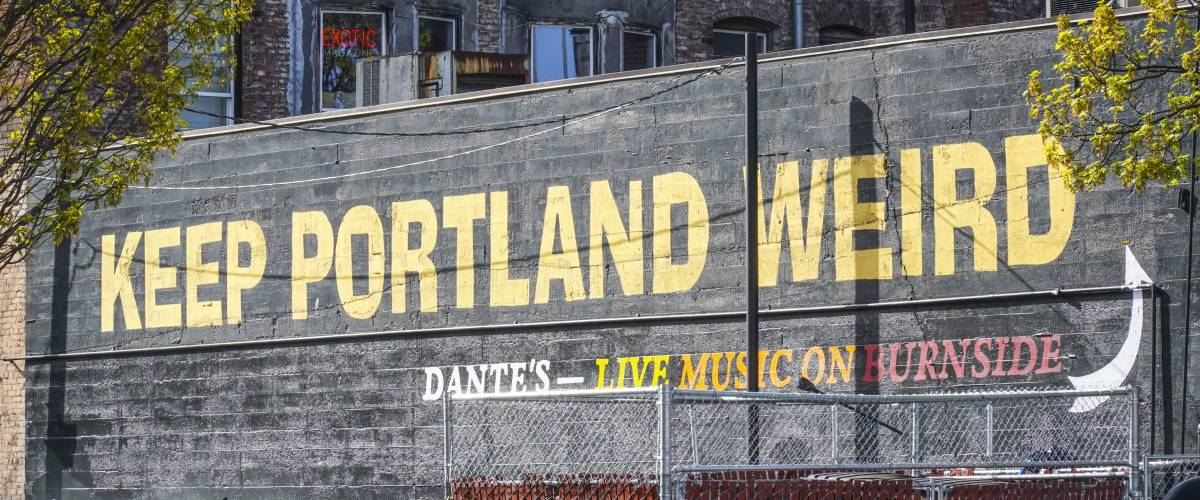 Keep Portland Weird writing in the old town of Portland - PORTLAND / OREGON - APRIL 16, 2017