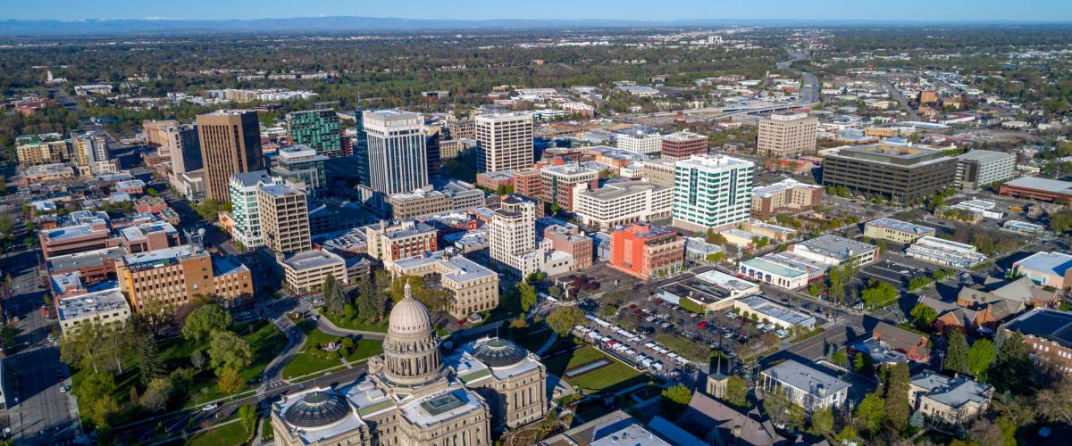 Idaho state capital building and city of Boise