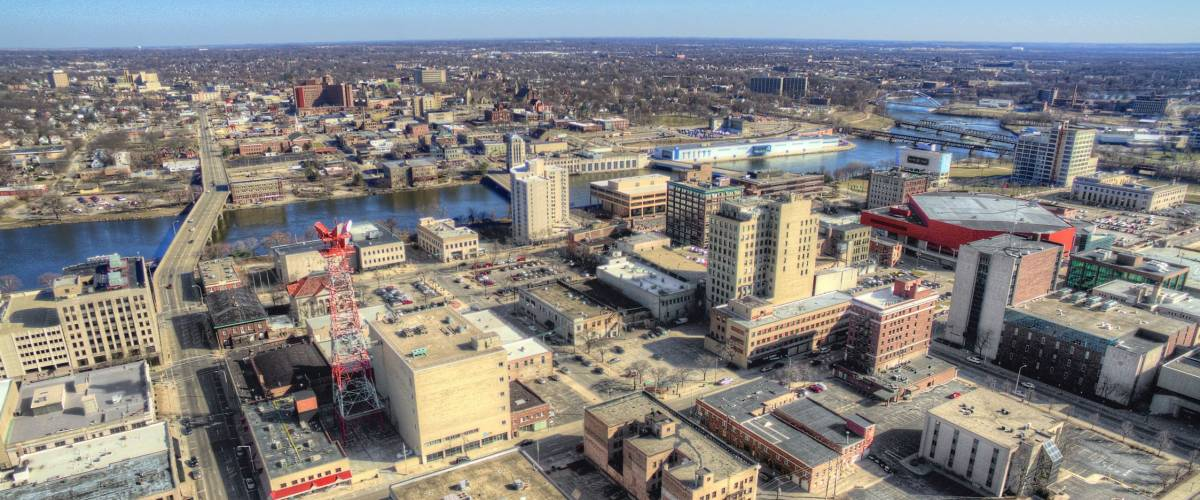 Rockford, Illinois in Early Spring Seen from above by Drone