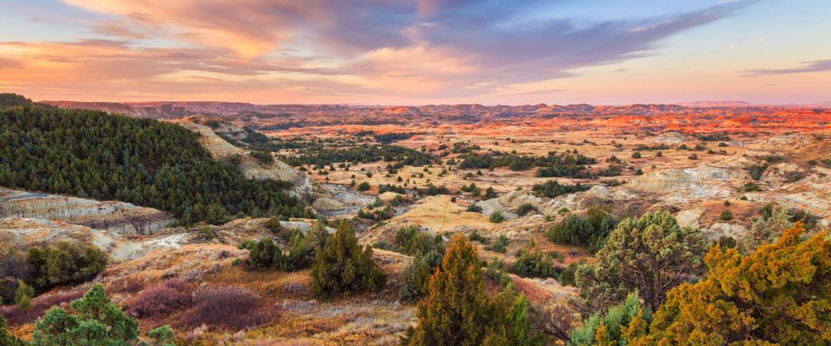 Sunrise over Theodore Roosevelt National Park, North Dakota.