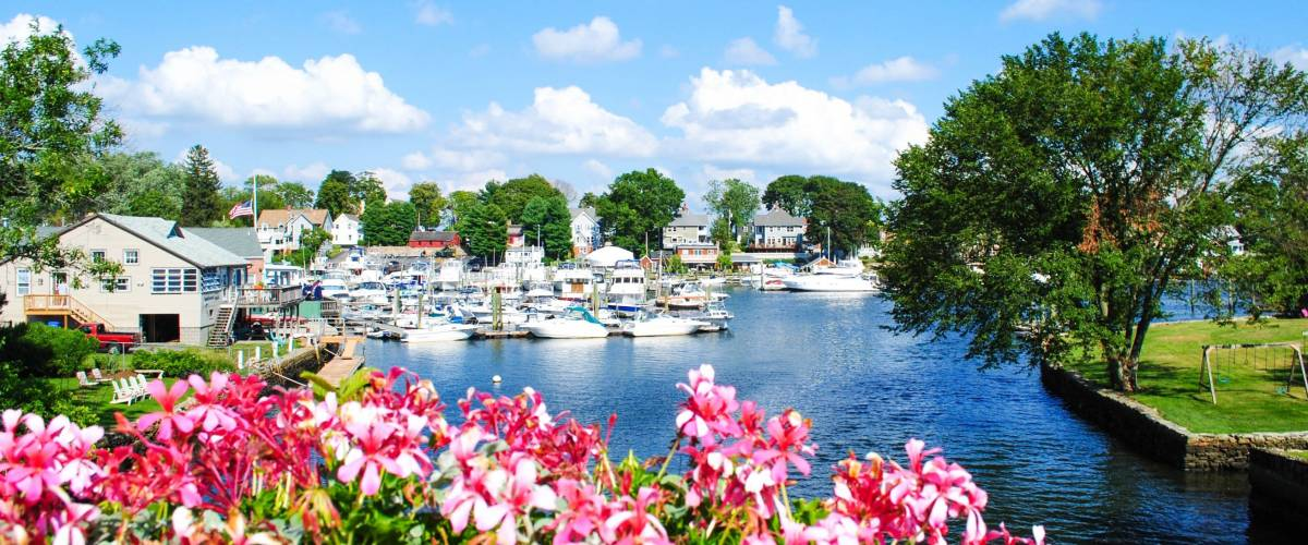Picturesque view of a small town in Rhode Island.