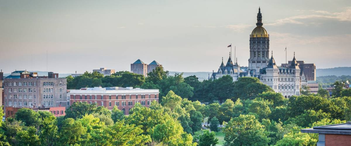 A view of the skyline and the Connecticut State Capitol Building in Hartford, Connecticut.