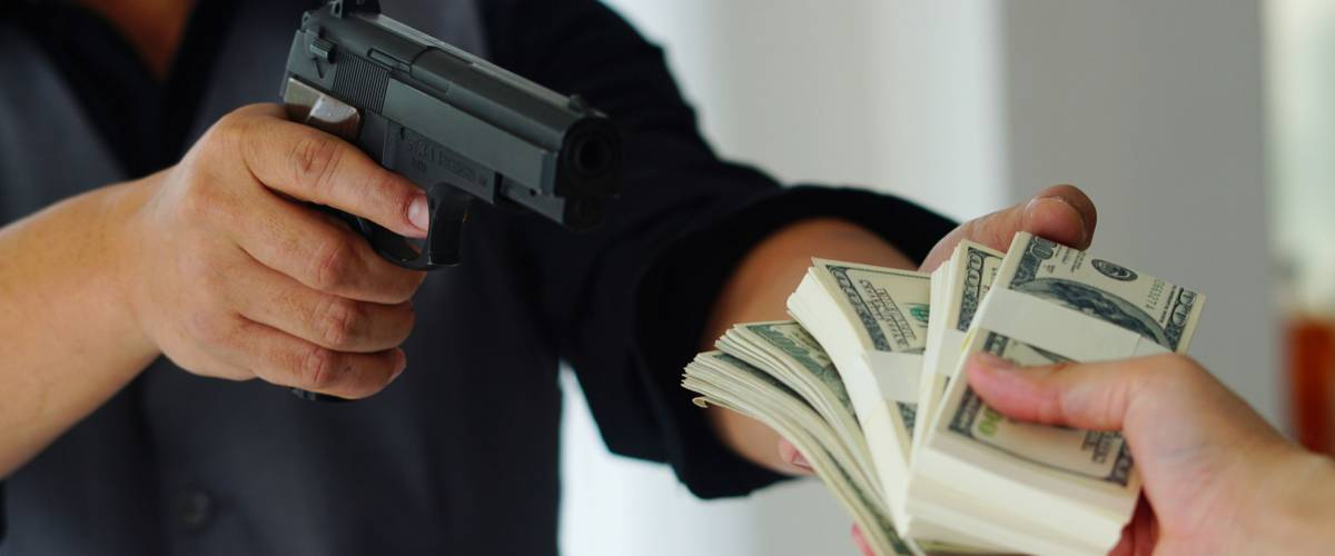 Bank robbery with gun