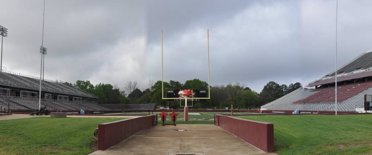 Panoramic view of Malone Stadium on the campus of the University of Louisiana at Monroe.