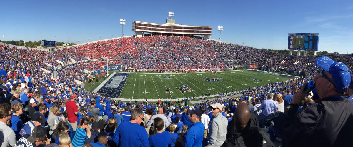 Panorama of Liberty Bowl Memorial Stadium during a game against Ole Miss on 16 October 2015 in Memphis, TN. Memphis won 37-24.