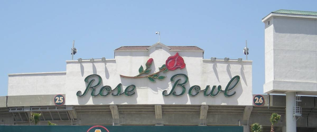 The Rose Bowl stadium in Pasadena, California