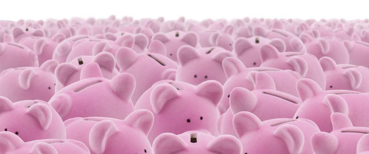 large group of piggy banks