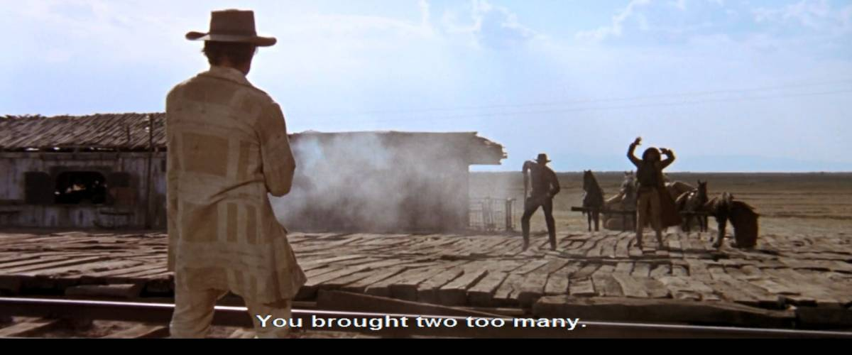 Closed captioning. Screenshot from 'once upon a time in the west'.