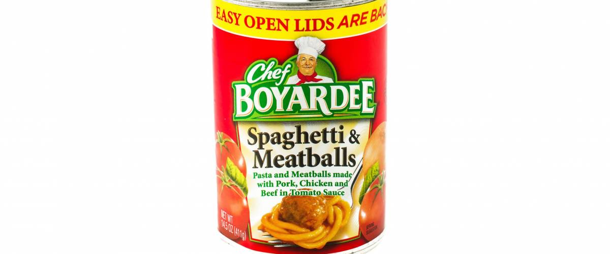 Winneconne, WI - 29 January 2015:  Can of Spaghetti & Meatballs by Chef Boyardee.  Chef Boyardeee has been enjoyed by everyone since 1928.