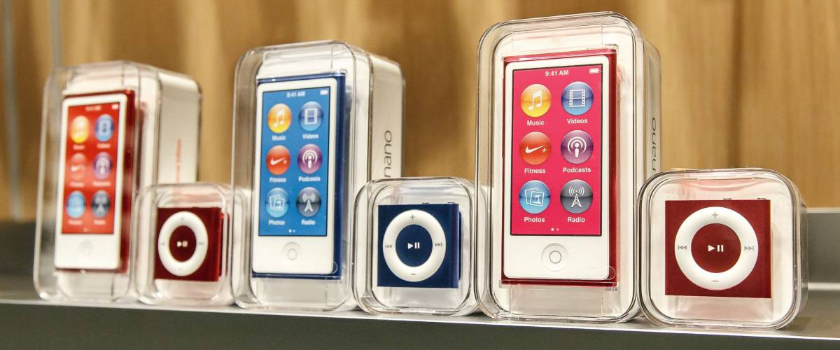 New York, February 9, 2017: New iPod Shuffle and iPod Nano mp3 players stand on a shelf in Apple store on 5th Avenue in Manhattan.