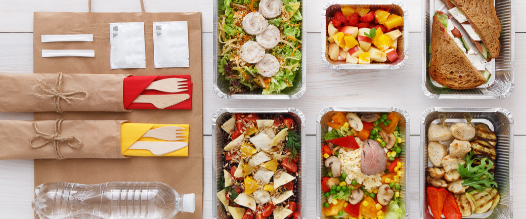Healthy food packaged into portions