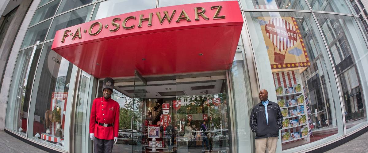 NEW YORK - MAY 13, 2015: Famous Fao Schwarz toy store on 5th Avenue. FAO Schwarz, founded in 1862, is the oldest toy store in the United States.