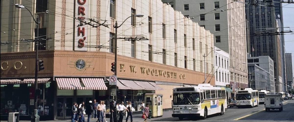 The Downtown Seattle Woolworth's store, located at 3rd Avenue and Pike Street, in 1986. The store opened in 1940 and remained in operation until January 1994.