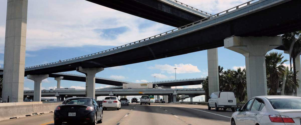 Massive flyover ramps at I-45 southbound towards Galveston